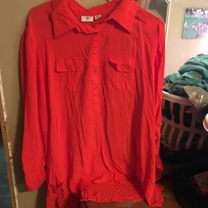 Button down red blouse